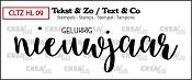 Tekst & Zo stempel, Handlettering no 9, Gelukkig nieuwjaar, dicht