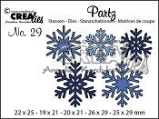 Partz stansen/dies no. 29, 5x sneeuwvlokken / 5x Snowflakes