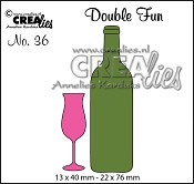Double Fun stansen/dies no.36, Champagneglas+wijnfles klein/Champagne flute+bottle of wine small