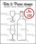 Bits & Pieces stempel/stamp no. 138, Wijnfles en glazen/Bottle of wine and glasses