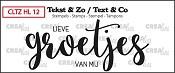 Tekst & Zo stempel, Handlettering no. 12, Groetjes (dicht)