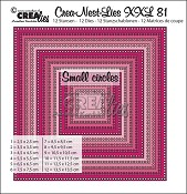 Crea-Nest-Lies XXL stansen/dies no. 81, Vierkanten met kleine gaatjes/Squares with small circles
