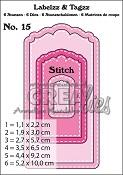 Labelzz & Tagzz stansen/dies no. 15, Met stiksteeklijn / With stitch line