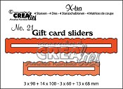 X-tra stansen/dies no. 21, Cadeaukaart openingen/Gift card slides