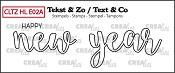 Text & Co English stamp Handlettering no. 2A, Happy new year, outline