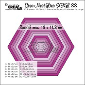Crea-Nest-Lies XXL stansen/dies no. 88, Gladde zeshoek / Smooth hexagons