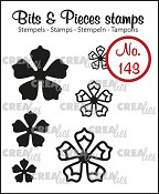 Bits & Pieces stempel/stamp no. 143, 6x Mini bloemen 21 / 6x Mini Flowers 21