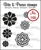 Bits & Pieces stempel/stamp no. 146, 6x Mini bloemen 24 / 6x Mini Flowers 24