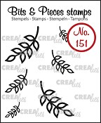Bits & Pieces stempel/stamp no. 151, 6x Mini blaadjes 8 / 6x Mini Leaves 8