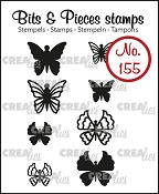 Bits & Pieces stempel/stamp no. 155, 8x Mini Vlinders 5 + 6 / 8x Mini Butterflies 5 + 6