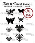 Bits & Pieces stempel/stamp no. 156, 8x Mini Vlinders 7 + 8 / 8x Mini Butterflies 7 + 8