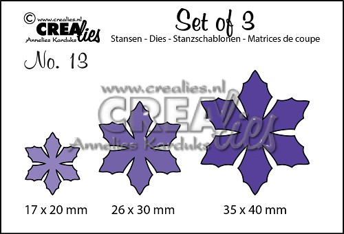 Set of 3 stansen/dies no. 13, Bloemen 9 / Flowers 9