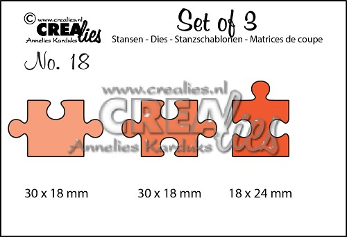 Set of 3 stansen no. 18 Puzzelstukken / Set of 3 dies no. 18 Puzzle pieces