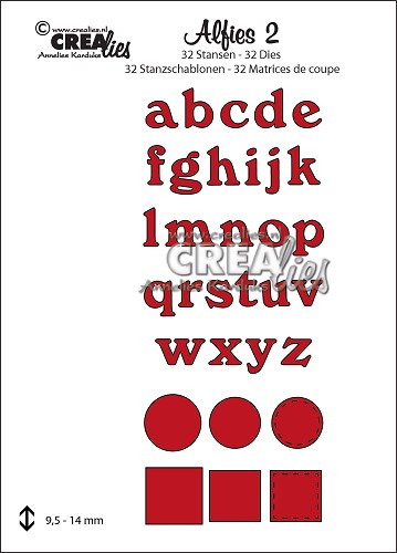 Alfies stansset/die set no. 2, Kleine letters / Lower case