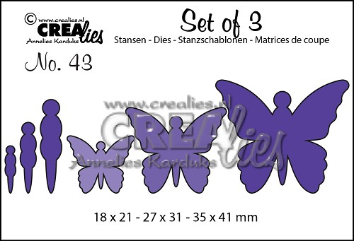Set of 3 stansen/dies no. 43, Vlinders 5 / Butterflies 5