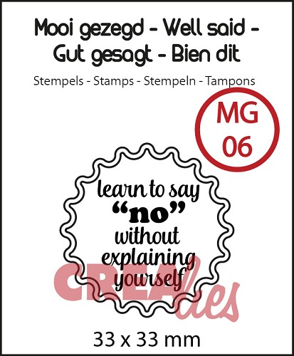 Mooi gezegd / Well said, stempel/stamp no 6, `Learn to say no`