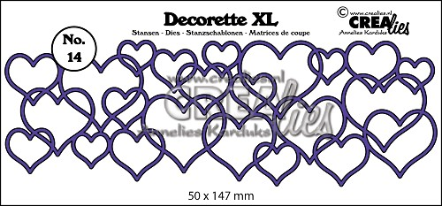 Decorette XL stans/die no. 14, In elkaar grijpende harten/Interlocking hearts