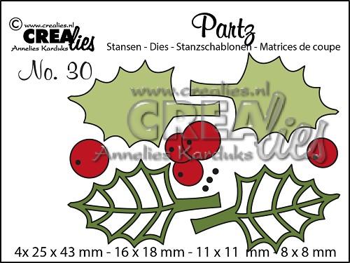 Partz stansen/dies no. 30, Hulstblaadjes + besjes / Holly leaves + berries