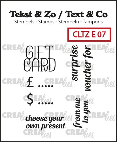 Tekst & Zo / Text & Co English stamps no. 7, Gift card text